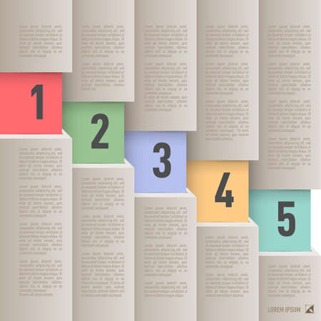 column chart: Infographics in old paper style with descending colored numbered items from one to five Illustration