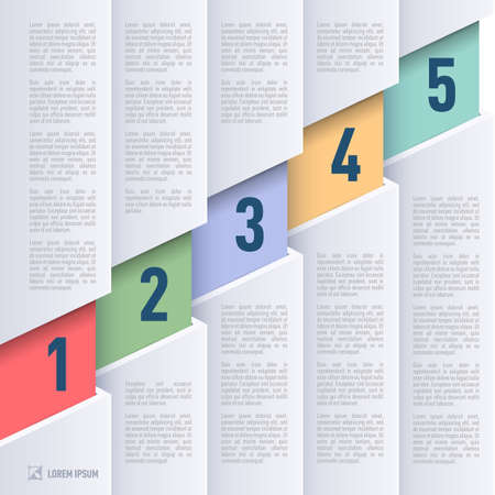 Infographics in paper style with ascending colored numbered items from one to five Vector