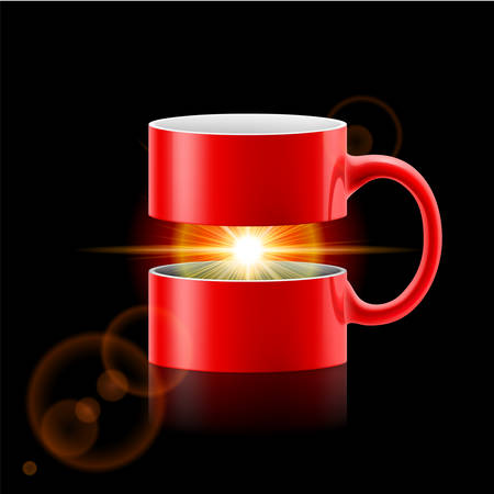 Red mug divided into two parts with sunshine between them. Vector