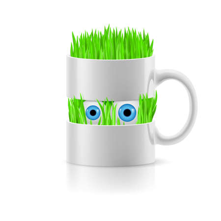 White mug divided into two parts with grass and two eyes inside. Vector