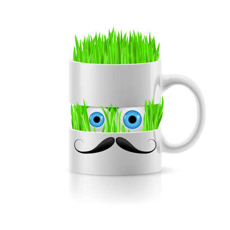 White mug of two parts with moustache having grass and two eyes inside. Vector
