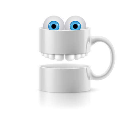 froggy: White mug of two parts with teeth and a couple of blue froggy eyes.