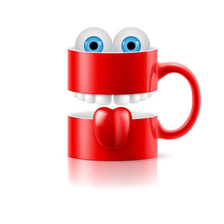froggy: Red mug of two parts with teeth, tongue and a couple of blue froggy eyes. Illustration