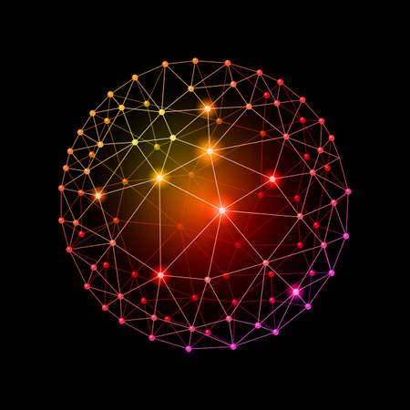 Multicolour web envelopes sphere on the black background