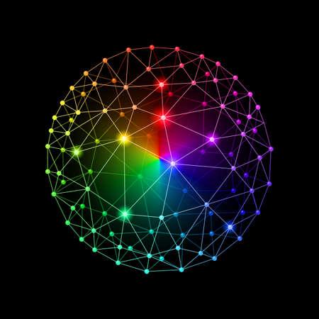 Multicolour web envelopes sphere on black background Illustration