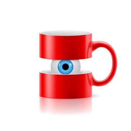 ojo azul: Taza roja divide en dos partes con un ojo azul entre ellos. Vectores