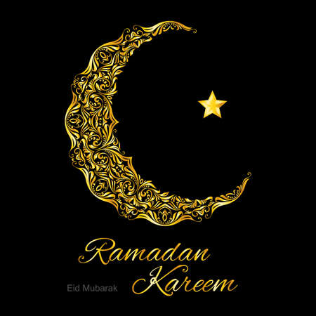 Golden ornate crescent with star on  black background.  Greeting card of holy Muslim month Ramadan Illustration