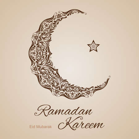 Brown ornate crescent with star on beige background. Greeting card of holy Muslim month Ramadan