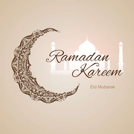 Brown ornate crescent with white mosque on beige background. Greeting card of holy Muslim month Ramadan