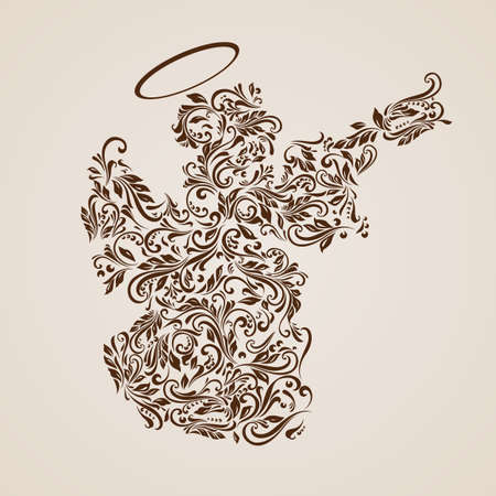 Floral pattern of vines in the shape of a Christmas angel on a beige background Vector