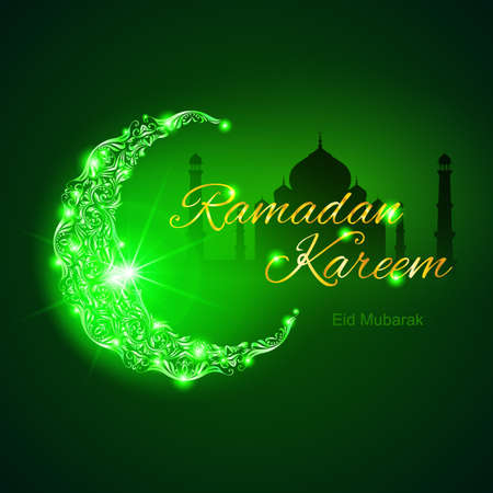 islam moon: Glowing ornate crescent with mosque and bright flare. Illustration in green shades. Greeting card of holy Muslim month Ramadan