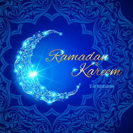 Glowing ornate crescent with bright flare and asian floral ornament in background. Illustration in blue shades. Greeting card of holy Muslim month Ramadan Illustration