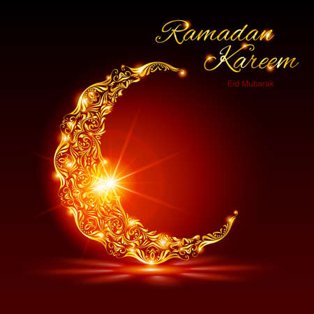 Glowing ornate crescent with bright flare and radiance in red shades. Greeting card of holy Muslim month Ramadan Illustration