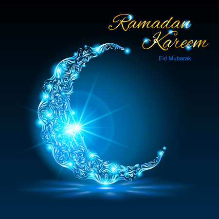 moon festival: Glowing ornate crescent with bright flare and radiance in blue shades. Greeting card of holy Muslim month Ramadan