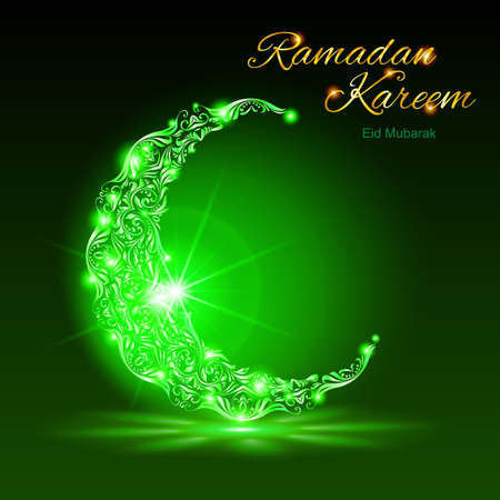 radiance: Glowing ornate crescent with bright flare and radiance in green shades. Greeting card of holy Muslim month Ramadan