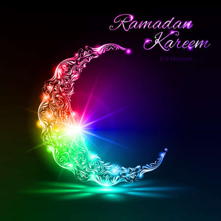Colorful glowing ornate crescent with bright flare and radiance on dark background. Greeting card of holy Muslim month Ramadan