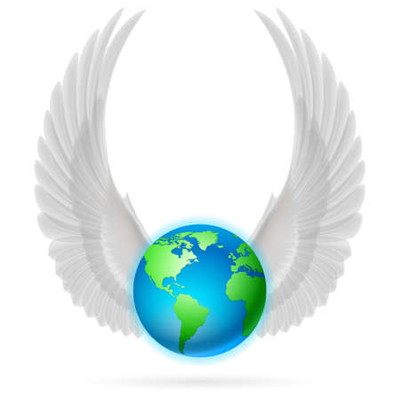 terrestrial: Terrestrial globe with two white wings up on white background.