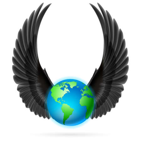 terrestrial: Terrestrial globe with two black wings up on white background.