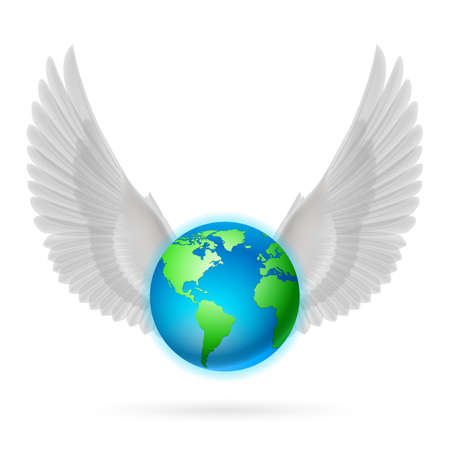 geosphere: Terrestrial globe with two raised white wings on white background. Illustration
