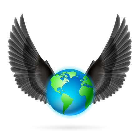 terrestrial: Terrestrial globe with two raised black wings on white background. Illustration