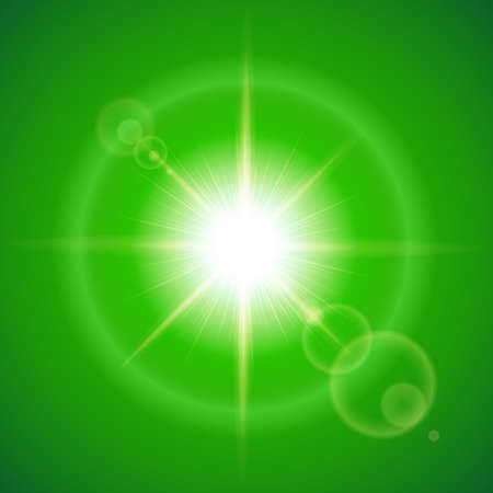 glister: Glaring sun with lens flare over green background Illustration