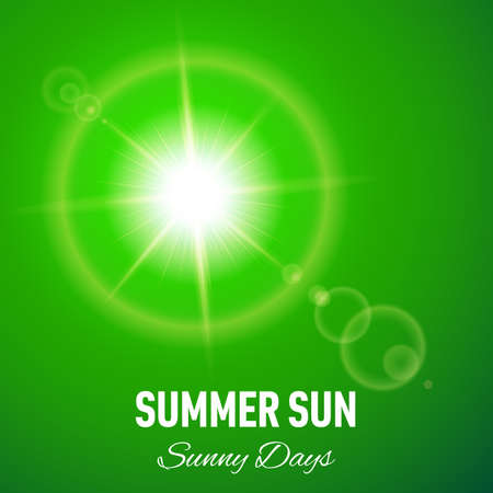 Green summer background with glaring sun and lens flare Illustration