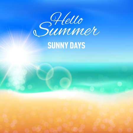 sunny beach: Defocused background with sunny beach for your summer design
