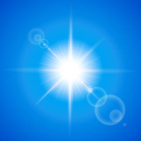 Glaring sun with lens flare over blue background Vector
