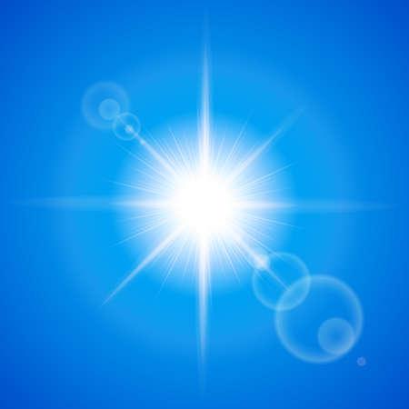Glaring sun with lens flare over blue background Illustration