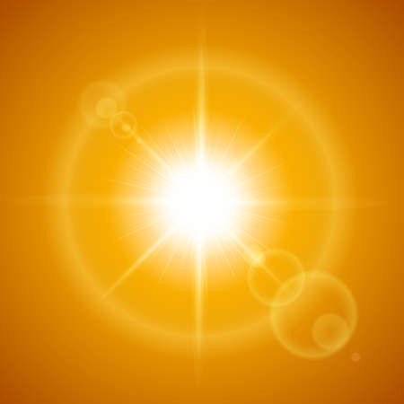 Glaring sun with lens flare over orange background