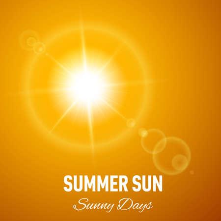 Orange summer background with glaring sun and lens flare