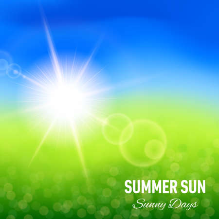 Blurred summer background with glaring sun for your design Vector