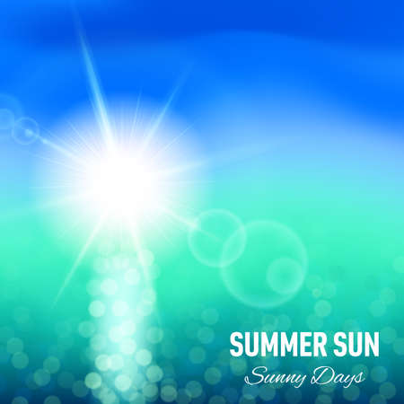 glaring: Summer background with glaring sun and sea