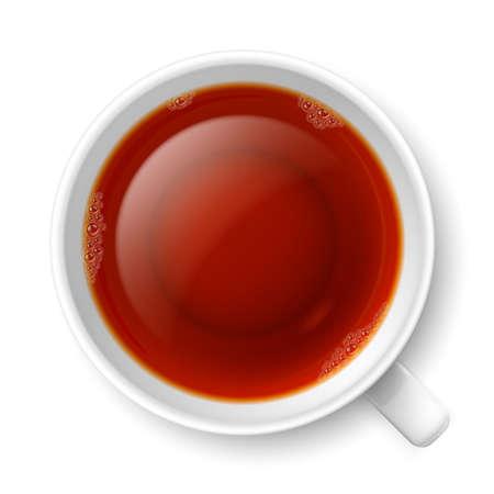 Tazza di tè nero su sfondo bianco. Vista dall'alto Archivio Fotografico - 29568784