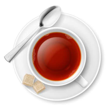 sugar spoon: Cup of black tea with spoon and brown lump sugar Illustration