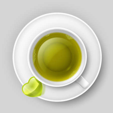 Cup of green tea with heart on saucer. Top view Vector