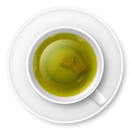 herbal tea: Cup of green tea with brown lump sugar Illustration