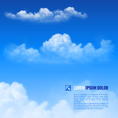 Fluffy white clouds on the sky  background. Down text Illustration