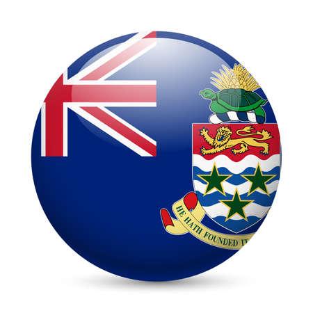 cayman: Drapeau des �les Ca�mans comme ic�ne ronde brillant. Bouton avec la conception de drapeau