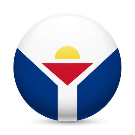 martin: Flag of Saint Martin as round glossy icon. Button with flag design Ilustracja