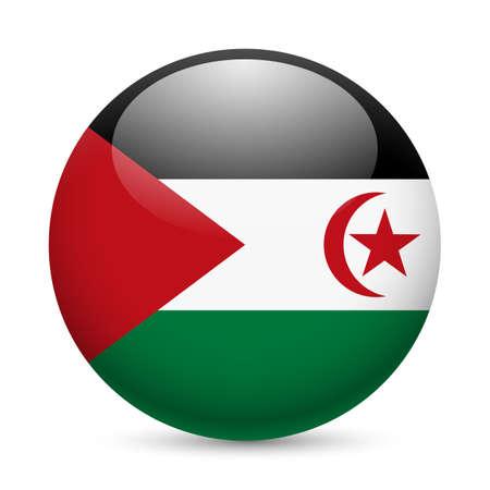 sahrawi arab democratic republic: Flag of Sahrawi Arab Democratic Republic as round glossy icon. Button with flag design