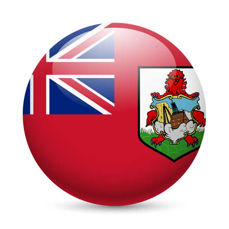 bermuda: Flag of Bermuda as round glossy icon. Button with flag design Illustration