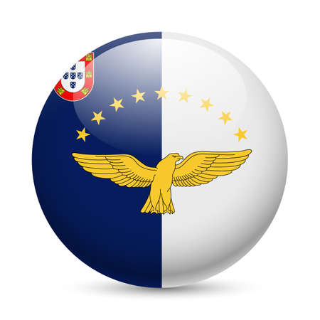azores: Flag of Azores as round glossy icon. Button with flag design