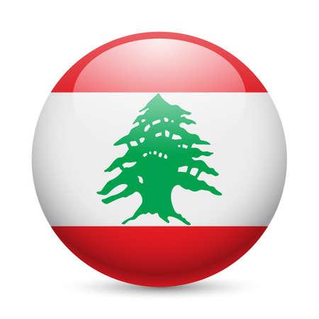 cedro: Bandera de la República del Líbano como redonda icono brillante. Botón con diseño de la bandera