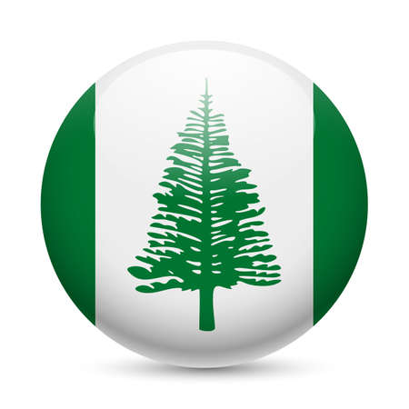 island state: Flag of Norfolk Island as round glossy icon. Button with flag design Illustration