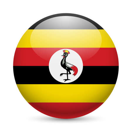 ugandan: Flag of Uganda as round glossy icon. Button with Ugandan flag