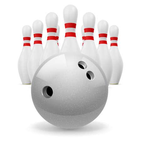 quilles: Boule de bowling avec des trous � l'avant. Quilles blanches avec des rayures rouges sur un fond blanc