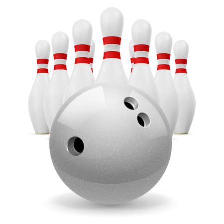 Bowling ball with holes in front. White skittles with red stripes on a white background Vector