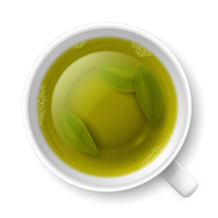 Cup of green tea with tea leaves at the bottom over white background Stock Vector - 29644615