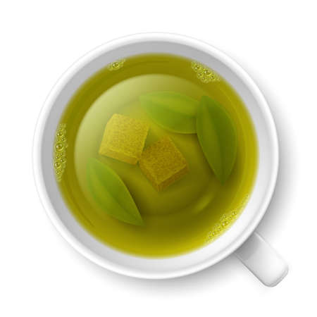 cane sugar: Cup of green tea with cane lump sugar and tea leaves at the bottom over white background